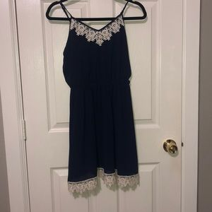 Navy blue lace trim dress